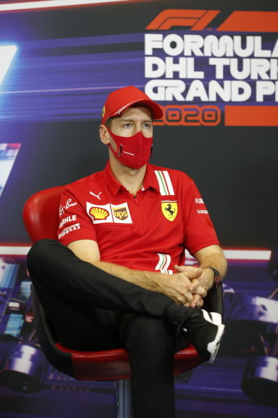Sebastian Vettel, Ferrari, in the press conference