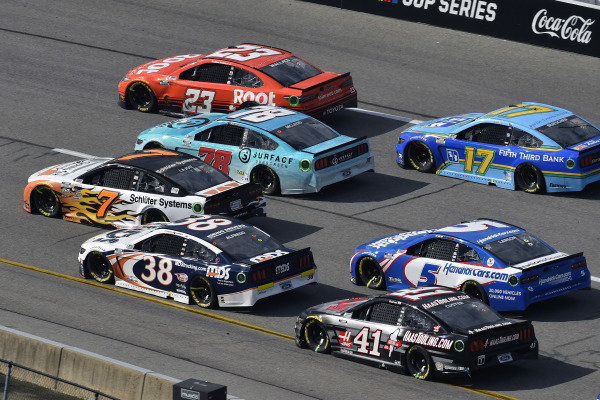 #38: Anthony Alfredo, Front Row Motorsports, Ford Mustang MDS, #7: Corey LaJoie, Spire Motorsports, Chevrolet Camaro Schluter Systems, #78: B.J. McLeod, Live Fast Motorsports, Ford Mustang and #23: Bubba Wallace, 23XI Racing, Toyota Camry Root Insurance