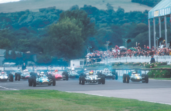 2001 Goodwood Revival.Goodwood, Sussex, England.15-16 September 2001.Frank Sytner (Brabham BT4 Climax), Paul Edwards (Cooper T79 Climax) and Martin Stretton (Lotus 25 Climax) lead away at the start of the Glover Trophy race. Ref-01 GR 45.World Copyright - LAT Photographic