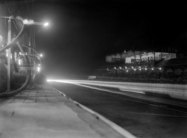Pit Straight at night from the pit wall of the Bentley team.