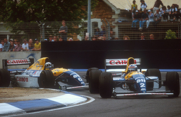 1993 Australian Grand Prix.Adelaide, Australia.5-7 November 1993.Alain Prost leads teammate Damon Hill (both Williams FW15C Renault's). They finished in 2nd and 3rd positions respectively.Ref-93 AUS 04.World Copyright - LAT Photographic