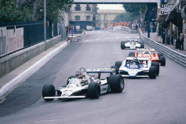 1980 Monaco Grand Prix.Monte Carlo, Monaco.15-18 May 1980.Carlos Reutemann (Williams FW07B Ford) leads Jacques Lafitte (Ligier JS11/15 Ford), Patrick Depailler (Alfa Romeo 179) and Nelson Piquet (Brabham BT49 Ford) into Mirabeau.Ref-80 MON 15.World Copyright - LAT Photographic