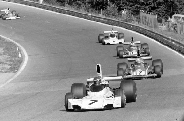 Carlos Reutemann, Brabham BT44 Ford leads Niki Lauda, Ferrari 312B3 and Clay Regazzoni, Ferrari 312B3.