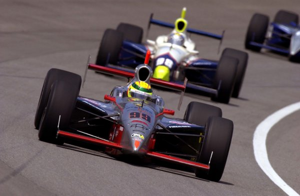 86th. Indianapolis 500, Indianapolis Motor Speedway, Speedway, Indiana, USA 26 May,2002 Mark Dismore leads Billy Boat.Copyright-F Peirce Williams 2002