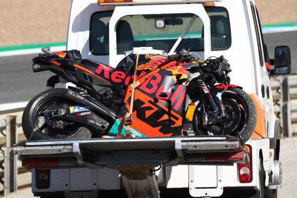 Brad Binder, Red Bull KTM Factory Racing crashed bike.