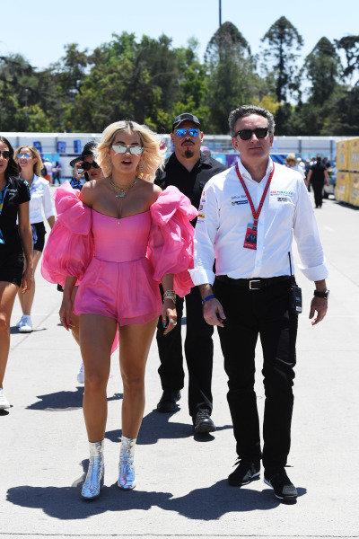 Singer Rita Ora with Alejandro Agag, CEO, Formula E