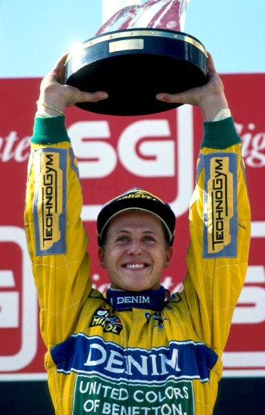 Race winner Michael Schumacher (GER), Benetton.