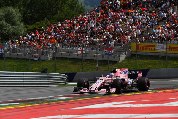 Sergio Perez (MEX) Force India VJM10 at Formula One World Championship, Rd9, Austrian Grand Prix, Race, Spielberg, Austria, Sunday 9 July 2017.