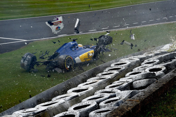 Marcus Ericsson (SWE) Sauber C35 crashes in FP3 at Formula One World Championship, Rd10, British Grand Prix, Qualifying, Silverstone, England, Saturday 9 July 2016. BEST IMAGE