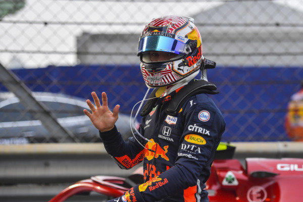 Pierre Gasly, Red Bull Racing, in Parc Ferme after the race