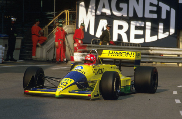 Monte Carlo, Monaco.4-7 May 1989.Pierre-Henri Raphanel (Coloni FC188B Ford). He exited the race with gearbox problems.Ref-89 MON 10.World Copyright - LAT Photographic