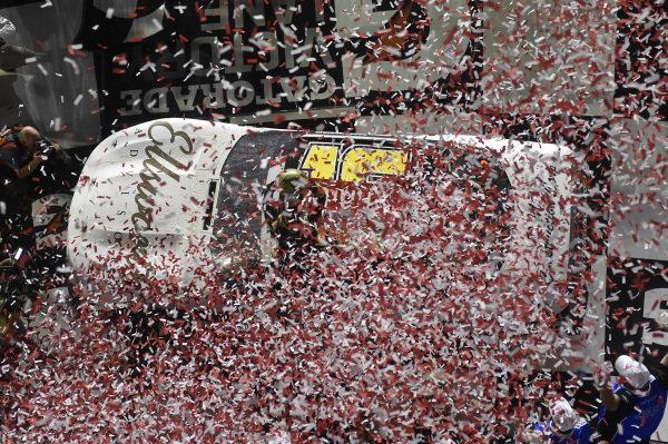 #16: Ross Chastain, Kaulig Racing, Chevrolet Camaro Ellsworth Advisors, celebrates after winning the Circle K Firecracker 250.