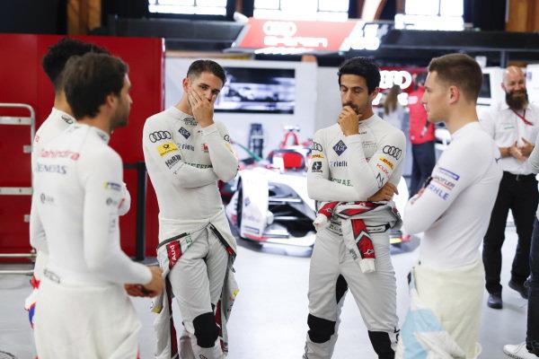 Jérôme d'Ambrosio (BEL), Mahindra Racing, Pascal Wehrlein (DEU), Mahindra Racing, Daniel Abt (DEU), Audi Sport ABT Schaeffler, Lucas Di Grassi (BRA), Audi Sport ABT Schaeffler and Stoffel Vandoorne (BEL), HWA Racelab all in the pit building