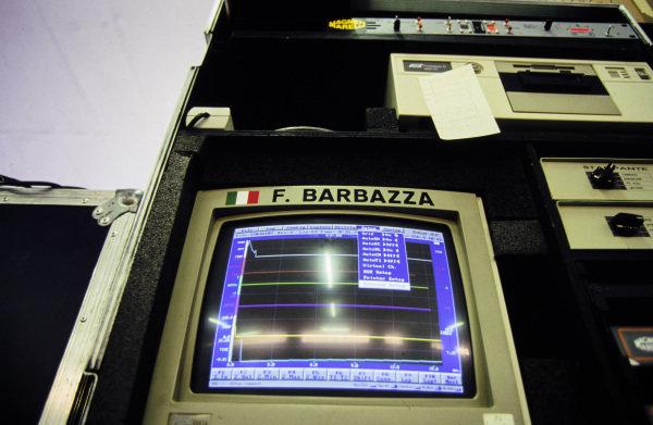Data screen in the garage of Fabrizio Barbazza.