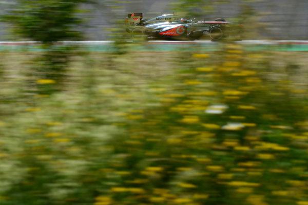 Jenson Button (GBR) McLaren MP4-28. Formula One World Championship, Rd9, German Grand Prix, Qualifying, Nurburgring, Germany, Saturday 6 July 2013.