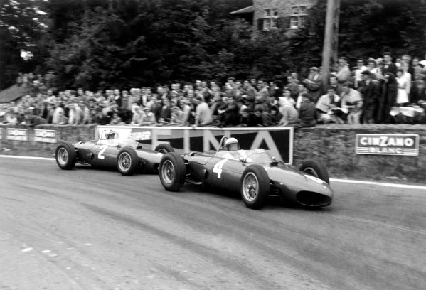 1961 Belgian Grand Prix Spa-Francorchamps, Belgium. 16-18 June 1961 Phil Hill leads Wolfgang von Trips (Ferrari 156) into La Source Hairpin. They finished in 1st and 2nd position respectively World Copyright: LAT PhotographicRef: Autosport b&w print