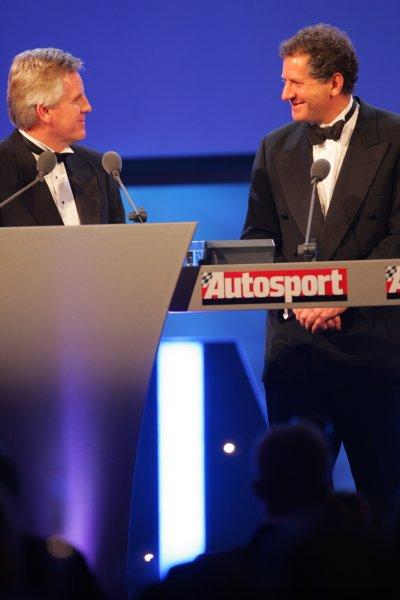 2005 Autosport AwardsGrosvenor House, London. 4th December.Steve Rider and Jody Scheckter.World Copyright: Glenn Dunbar/LAT Photographicref: Digital Image Only