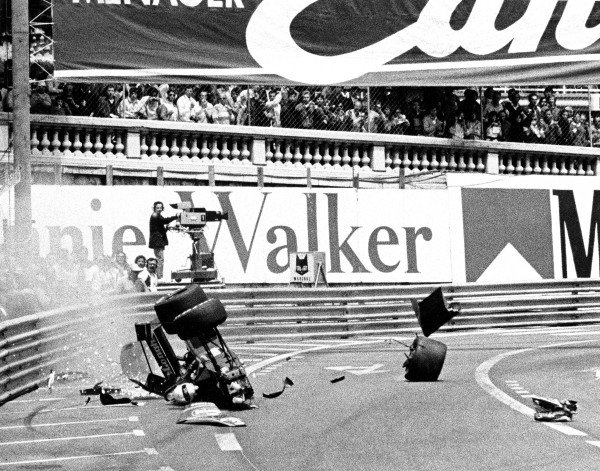 FIA Formula One World Championship1984 Monaco Grand Prix, Monte CarloMartin Brundle (Tyrrell-Ford) Crashes Action.World Copyright: LAT Photographic.ref: 60mb B&W Scan.