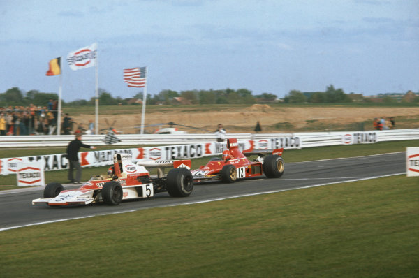 1974 Belgian Grand Prix  Nivelles-Baulers, Belgium. 10-12th May 1974.  Emerson Fittipaldi, McLaren M23 Ford, wins ahead of Niki Lauda, Ferrari 312B3.  Ref: 74BEL08. World Copyright: LAT Photographic