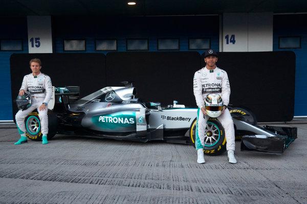 2015 F1 Pre Season Test 1 - Day 1 Circuito de Jerez, Jerez, Spain. Sunday 1 February 2015. Nico Rosberg, Mercedes AMG, and Lewis Hamilton, Mercedes AMG, launch the Mercedes W06. World Copyright: Steve Etherington/LAT Photographic. ref: Digital Image SNE26242