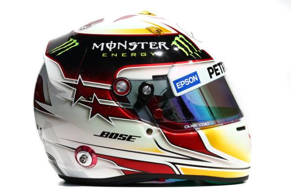 Albert Park, Melbourne, Australia. Helmet of Lewis Hamilton, Mercedes AMG.  Thursday 12 March 2015. World Copyright: LAT Photographic. ref: Digital Image 2015_Helmet_061