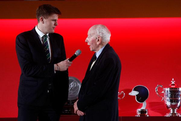 2015 British Racing Drivers Club Awards Grand Connaught Rooms, London Monday 7th December 2015 John Surtees on stage. World Copyright: Jakob Ebrey/LAT Photographic ref: Digital Image Surtees-02