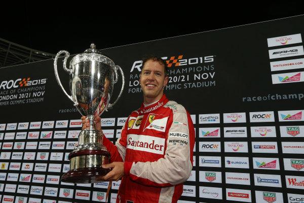 2015 Race Of Champions Olympic Stadium, London, UK Saturday 21 November 2015 Sebastian Vettel (GER) celebrates on the podium Copyright Free FOR EDITORIAL USE ONLY. Mandatory Credit: 'IMP'