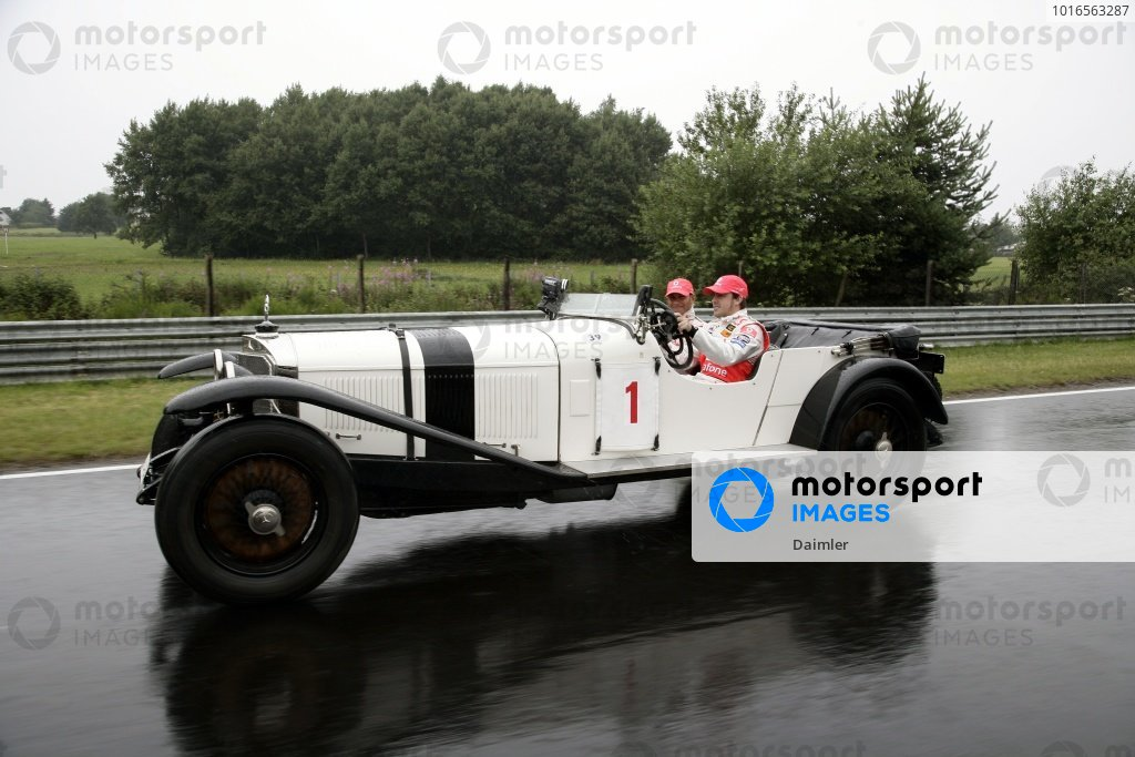 Fernando Alonso (ESP) McLaren and Lewis Hamilton (GBR) McLaren with a 1927 Mercedes S on the Nordschleife. Formula One World Championship, Rd 10, European Grand Prix, Preparations, Nurburgring, Germany, Thursday 19 July 2007.