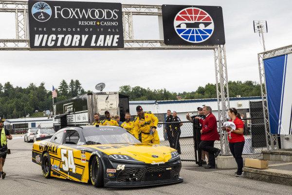#54: Christopher Bell, Joe Gibbs Racing, Toyota Supra DEWALT in victory lane