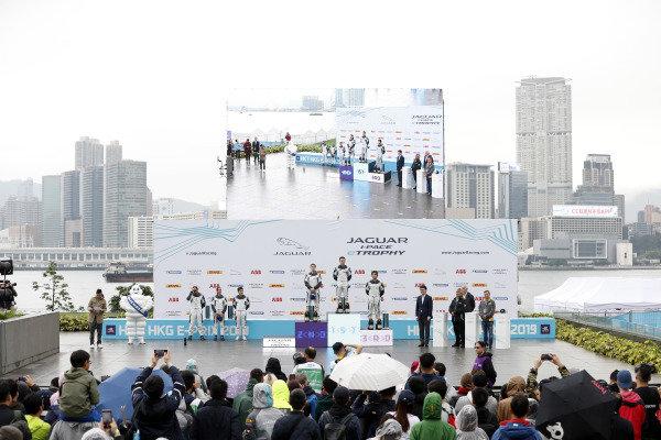 The PRO class podium: winner Bryan Sellers (USA), Rahal Letterman Lanigan Racing, Katherine Legge (GBR), Rahal Letterman Lanigan Racing, 2nd position, and Sérgio Jimenez (BRA), Jaguar Brazil Racing, 3rd position