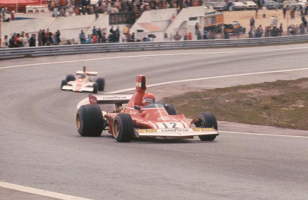 1974 Spanish Grand Prix.Jarama, Madrid, Spain.26-28 April 1974. Niki Lauda (Ferrari 312B3) 1st position for his maiden Grand Prix win.Ref-74 ESP 02.World Copyright - LAT Photographic
