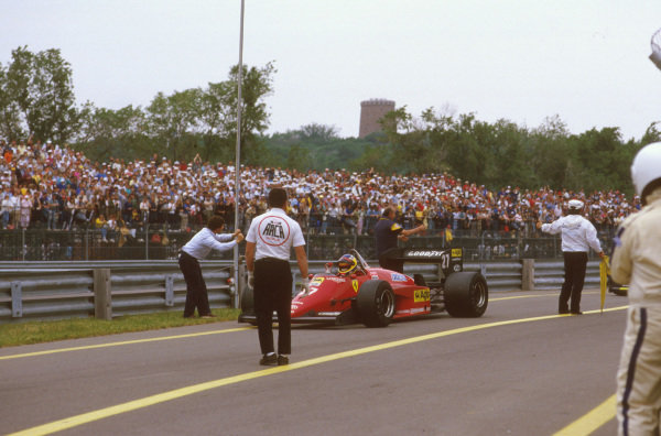 Montreal, Quebec, Canada.14-16 June 1985.Michele Alboreto (Ferrari 156/85) 1st position.Ref-85 CAN 09.World Copyright - LAT Photographic