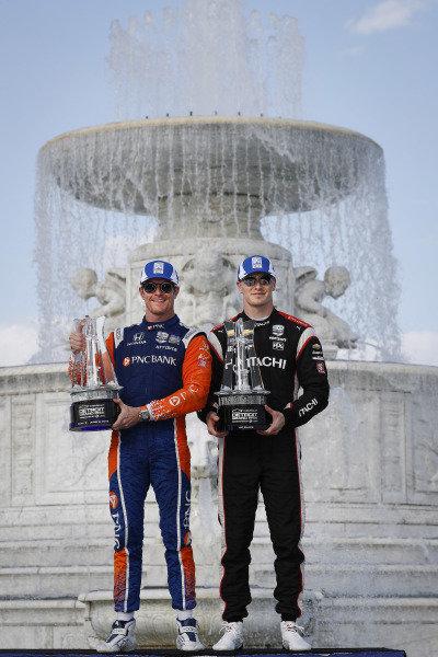 Winners of race 1 and race 2 Scott Dixon, Chip Ganassi Racing Honda, Josef Newgarden, Team Penske Chevrolet