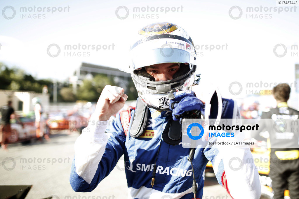 Robert Shwartzman (RUS) PREMA Racing celebrates after taking pole position