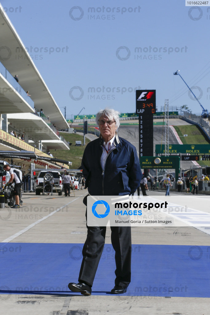 Bernie Ecclestone (GBR) CEO Formula One Group (FOM) at Formula One World Championship, Rd18, United States Grand Prix, Qualifying, Circuit of the Americas, Austin, Texas, USA, Saturday 22 October 2016.