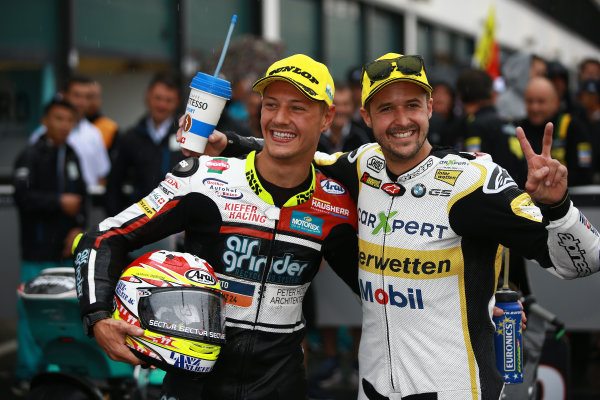 2017 Moto2 Championship - Round 13 Misano, Italy. Sunday 10 September 2017 Race winner Dominique Aegerter, Kiefer Racing, second place Thomas Luthi, CarXpert Interwetten  World Copyright: Gold and Goose / LAT Images ref: Digital Image 7887