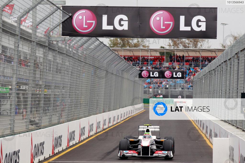 Albert Park, Melbourne, Australia25th March 2011.Sergio Perez, Sauber C30 Ferrari, enters the pit lane. Action. World Copyright: Charles Coates/LAT Photographicref: Digital Image _X5J8842