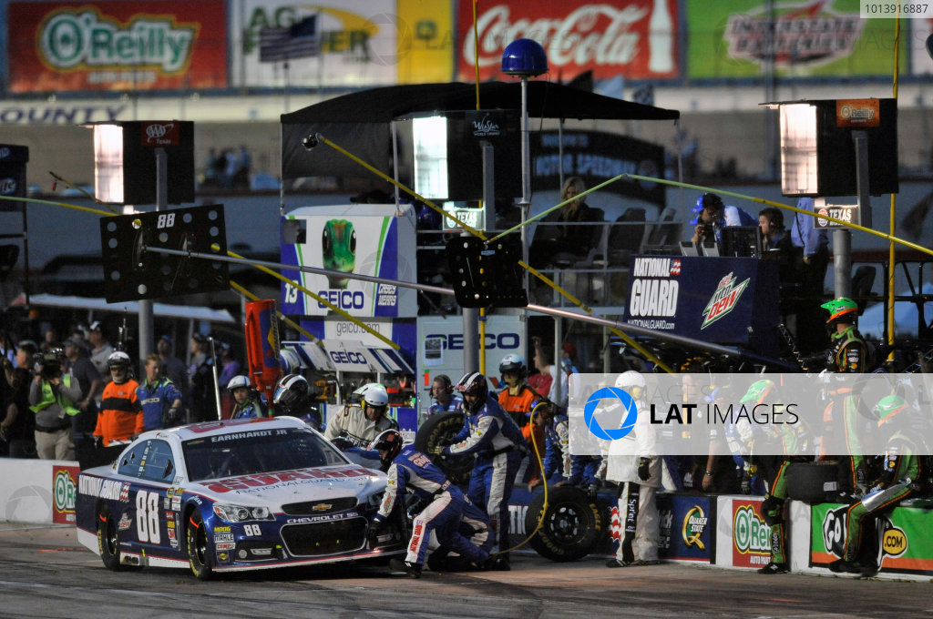11-13 April, 2013, Fort Worth, Texas USA Dale Earnhardt Jr. pit stop ©2013, Nigel Kinrade LAT Photo USA