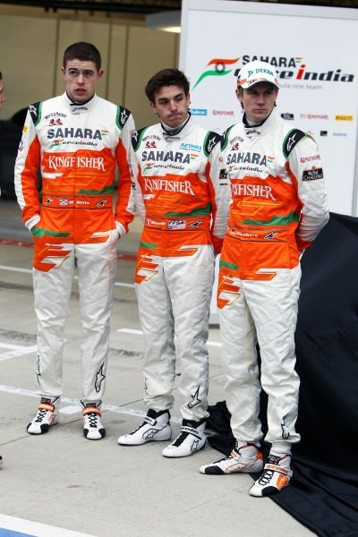 (L to R): Paul di Resta (GBR), Nico Hulkenberg (GER) and Jules Bianchi (FRA). Sahara Force India VJM05 Unveil, Silverstone, England, Friday 3 February 2012.