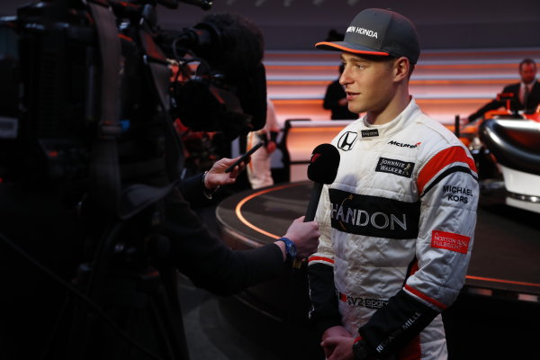 McLaren MCL32 Honda Formula 1 Launch. McLaren Technology Centre, Woking, UK. Friday 24 February 2017. Stoffel Vandoorne, McLaren, is interviewed by the media. World Copyright: Glenn Dunbar/LAT Images Ref: _31I9598