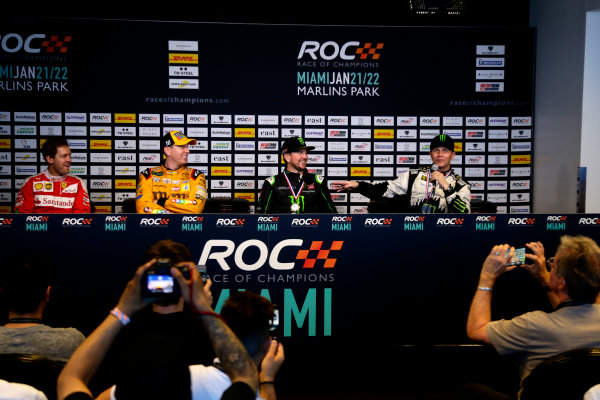 2017 Race of Champions Miami, Florida, USA Sunday 22 January 2017 Press Conference with Sebastian Vettel, Kyle Busch, Kurt Busch and Petter Solberg World Copyright: Alexander Trienitz/LAT Photographic ref: Digital Image 2017-RoC-MIA-AT1-1646