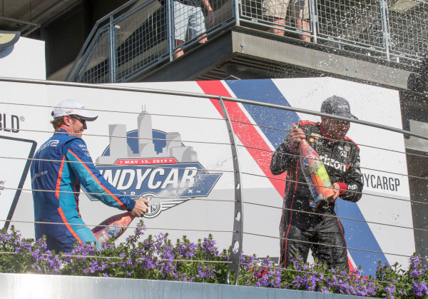 Verizon IndyCar Series IndyCar Grand Prix, Indianapolis Motor Speedway, Indianapolis IN USA Saturday 13 May 2017 Scott Dixon, Chip Ganassi Racing Teams Honda, Will Power, Team Penske Chevrolet champagne World Copyright: Geoffrey M. Miller LAT Images