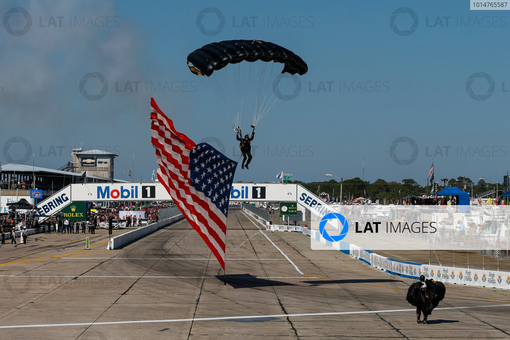 2017 IMSA WeatherTech SportsCar Championship Mobil 1 Twelve Hours of Sebring Sebring International Raceway, Sebring, FL USA Saturday 18 March 2017 Pre-Race Paratrooper World Copyright: Jake Galstad/LAT Images ref: Digital Image lat-galstad-SIR-0317-14452