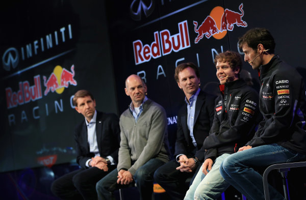 Milton Keynes, UK 3rd February 2013 .(L-R) Simon Sproule, Infiniti Corporate Vice-President Global Marketing, Adrian Newey, Chief Technical Officer, Christian Horner, Team Principle, Mark Webber of Australia, and Sebastian Vettel of Germany talk to the guests Photo: Richard Heathcote/Getty Images/Red Bull Racing () ref: Digital Image 160597328_10