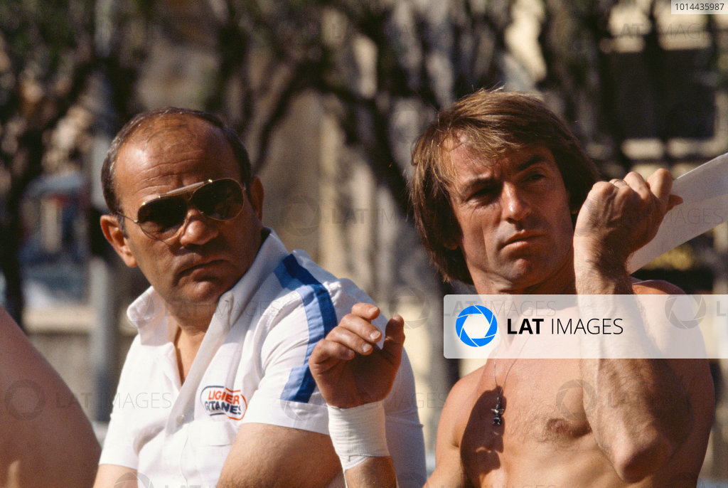 1979 Monaco Grand Prix. Monte Carlo, Monaco. 24th - 27th May 1979. Guy Ligier with Jacques Laffite in the pits, portrait.  World Copyright: LAT Photographic.