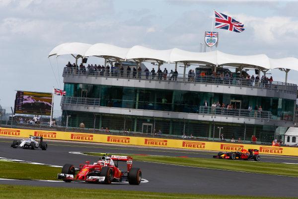Silverstone, Northamptonshire, UK Friday 8 July 2016. Kimi Raikkonen, Ferrari SF16-H, leads Felipe Massa, Williams FW38 Mercedes, and Max Verstappen, Red Bull Racing RB12 TAG Heuer. World Copyright: Hone/LAT Photographic ref: Digital Image _ONZ9654