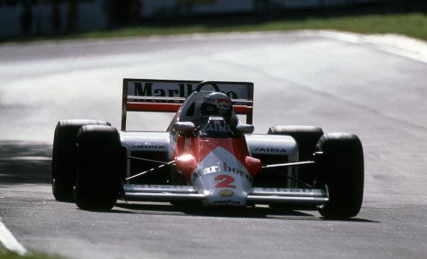 Alain Prost (FRA) McLaren MP4-2B. Formula One World Championship, Rd12, Italian Grand Prix, Monza, Italy, 8 September 1985.