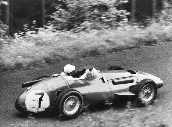 Nurburgring, Germany. 5th August 1956.Stirling Moss (Maserati 250F), 2nd position, action.World Copyright: LAT Photographic.Ref: Autocar Used Pic 10th August 1956 Pg 179.