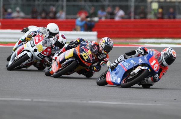 British Grand Prix.  Silverstone, England. 15th-17th June 2012.  Moto3. Alexis Masbou, Honda, leads Sandro Cortese, KTM, and Louis Rossi, FTR Honda.  World Copyright: Kevin Wood/LAT Photographic.  ref: Digital Image IMG_8778a
