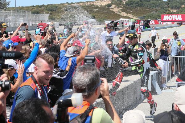 2017 Superbike World Championship - Round 8 Laguna Seca, USA. Sunday 9 July 2017 Winner Jonathan Rea, Kawasaki Racing sprays fans World Copyright: Gold and Goose/LAT Images ref: Digital Image 683468